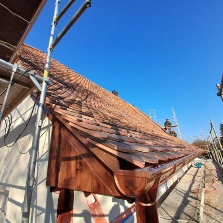 Chantier rantzwiller rénovation couverture avec isolation laine de bois pose sur toiture sarking